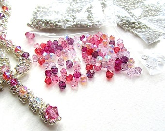 Jewellery Making Kit, Necklace Kit, Evangeline Rose, Crystal and Seed Beads, Pink, Purple and Silvertone
