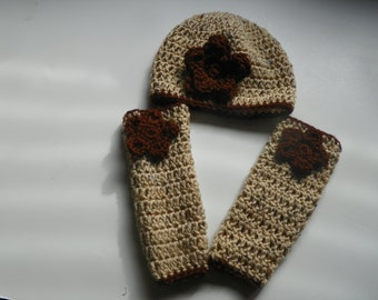 Oatmeal Leg Warmers and Hat Baby Set  with Brown Flowers and a Trim Baby Hat Set comes wi Sizes is 3M-4Years