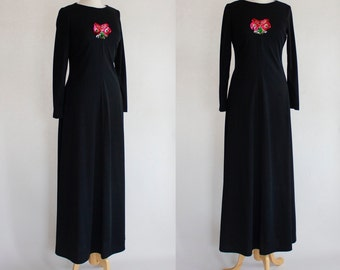 Vintage Dress / Vintage 70s Dress / Vintage Maxi Dress / Boho Maxi Dress / 70s Boho Dress / Black Dress / Maxi Dress / Size Small