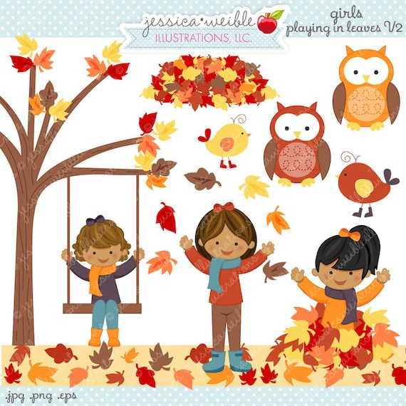 Girls Playing in Leaves V2 Cute Digital Clipart Commercial