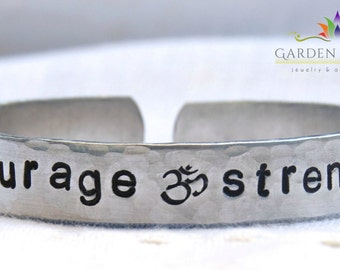 Breast Cancer Jewelry, Courage and Strength, Survivor Jewelry, Hand Stamped Bracelet, Aluminum Bangle, Wellness Jewelry