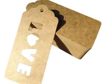 6 tags in kraft Love - label tag cardstock kraft cardstock