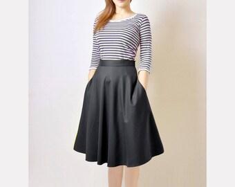 Midi Skirt, High Waist Skirt, Black Flared Skirt, 50s Skirt with Pockets