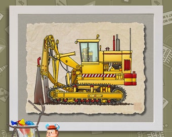 Kid Construction Art Tiling Machine Whimsical yellow digger print adds to kids room construction zone as 8x10 or 13x19 wall decor