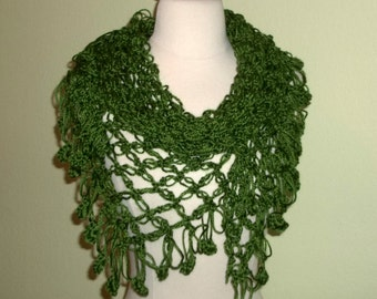 Crochet Shawl Triangle Olive Green Lace Bridal Wedding Wrap Scarf Boho Summer Wrap