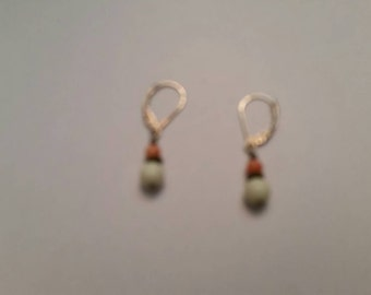 Vintage Sterling Silver Dangle Stone Earrings 925