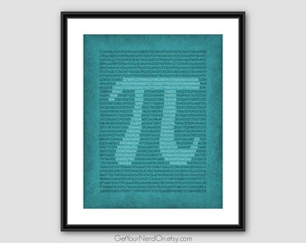 Pi Digits Print, Math Teacher Gift, Nerdy Math Poster, Mathematics Decor, Best Seller