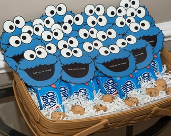 Cookie Monster Favor Tags, Cookie Monster, Favor tags, Blue Favor tags