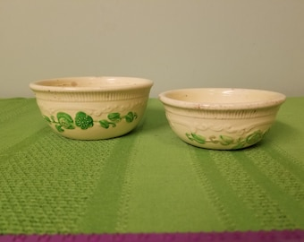 Two Cream and Green Homer Laughlin Oven Serve Dishes
