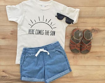 Organic Kids Clothes, Kids Tshirt, Here Comes the Sun, Youth T-shirt, Here Comes the Sun Kids Shirt, Toddler Shirts, Graphic Tee, Shirts