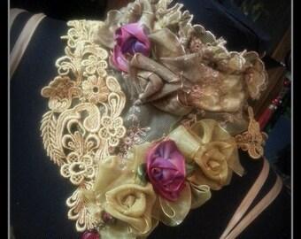 Stunning OOAK neckpiece,choker using Genuine Antique & Vintage textiles
