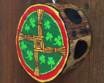 Irish Ornament, St. Brigid's Cross, Handpainted Wooden Ornament, Christian