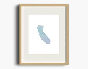 California Blue Ombre Watercolor Printable | California Print | California Watercolor | California Nursery Art