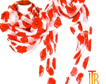 Floral Infinity Scarf, Red and White Woman Scarves, Red Poppy Flower Scarf, Fashion Loop Scarf, Women Fashion Accessories, Gifts For Her