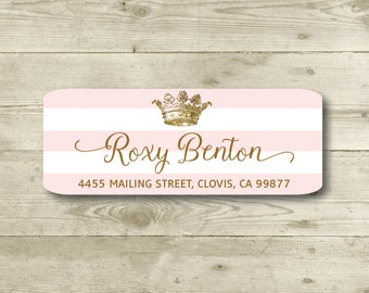 Crown, Pink & White Stripes, Gold, Return Address Label, Personalized, MATTE, Royal, Celebration, Shower, Birthday