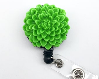 Handmade Green Chrysanthemum Flower Cabochon Alligator Swivel Clip Retractable ID Badge Reel / Name Badges / ID Badge Holder Great Gift