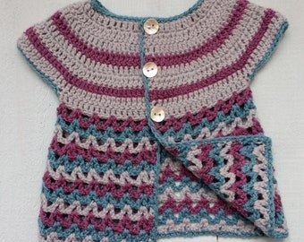 Baby Cardigan, Baby Jumper, Baby Girls Sweater, Crochet Cardigan, Baby Clothes, 3 - 6 Months