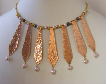Necklace - Genuine Pearls - Copper