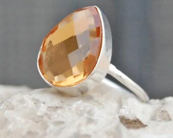 Morganite Quartz Ring, Morganite Quartz sterling silver ring, Morganite Quartz Solid silver ring Jewelry