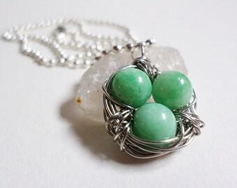 Mint Gemstone Wire Wrapped Bird's Nest Necklace