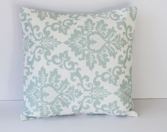 Cecilia Snowy Blue Floral Pillow Cover- Snowy Light Blue and White Decorative Couch Pillow 16x16- Ready to Ship