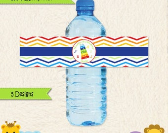 Music Party Waterproof Water Bottle Labels • Music Party • Drum • Xylophone • Maracas • First Birthday • Toddler Birthday • Stickers • 014C2