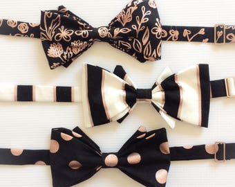 Rose Gold Bow Tie - Black Bow Tie - Wedding Bow Tie - Groomsmen Bow Tie - Bow Tie for Groom - Rose Gold