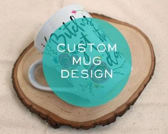 CUSTOM Personalized Hand lettered Handpainted Coffee Mug