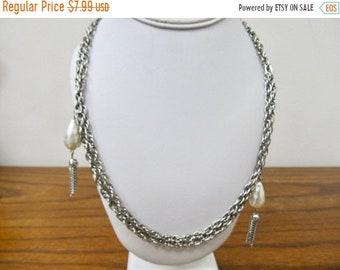 ON SALE Vintage Faux Pearl Tassel Necklace Item K # 1745