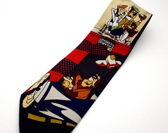 Vintage 90s Cartoon Network Necktie Men's Tie Fred Flintstones Yogi Bear George Jetson Neckwear Retro Animated Television Shows
