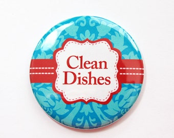 Dishwasher magnet, The dishes are clean, kitchen magnet, Clean Dishes, clean dishes magnet, Turquoise, Red, Damask, Magnet (3682)