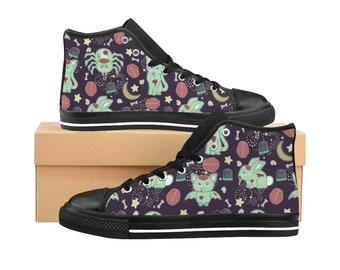 Cute Zombie Animal High Top Sneakers | Horror Shoes | Zombie Cat | Zombie Bunny | Bat | Alternative Shoes | Unique