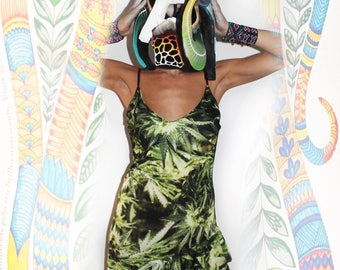 Cannabis Print dress Junglee