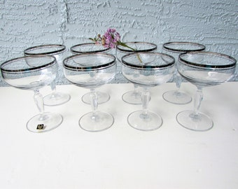 Set of 8 Silver Rimmed Coupe Champagne Glasses - Mid Century  - Vintage Carico Crystal- Hollywood Regency Elegance - Silver Banded Glassware