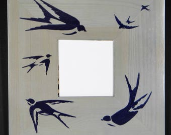 wooden mirror painted stylized swallows blue acrylic paint