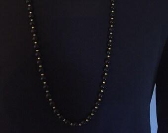 "Monet Black Beaded Necklace 28"""