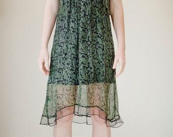 SALE Rayon chiffon dress, babydoll, boho dress, green floral dress, gypsy clothing, sheer dress, boho clothing