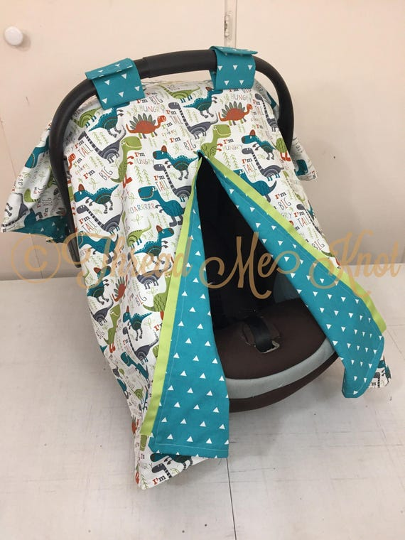 Turquoise & Green Dinosaur Car Seat Canopy