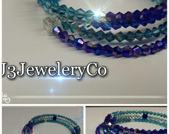 Crystal 4 Coil Bangle W/O Charms - Shades Of Blue