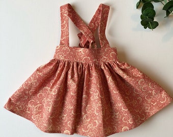 Girls Suspender Skirt/Red Toddler Skirt/ Pinafore Dress/ Red Paisley Baby Skirt/ 12 months Skirt/2T / Ready to Ship