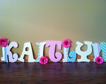 Custom Nursery Letters- Personalized Name- Wooden Hanging Letters - Kaitlyn- Pastel nursery-Daisy Garden- Honey Boo Boutique