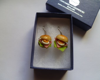 Ham & Egg Roll Earrings - Rockabilly Sandwich Tearoom Party Bride Wedding Eating Eat Dinner Lunch Tea Cafe Bap Cob Fried