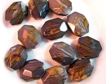 Flat Octagon Faceted Acrylic Beads