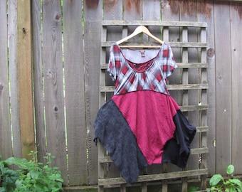 Funky Red Plaid Tunic Shirt Lagenlook Upcycled/ Asymmetrical Handkerchief Hem Eco Blouse/ Hi Lo Womens Tops M/L