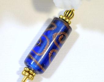 Blue Scarf Pin Blue Hat Pin 3 inch Lapel Pin Blue Sarong Pin Beaded Stick Pin Handmade Brooch