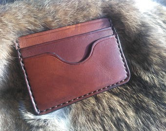 Sturdy vegetable tanned leather card holder