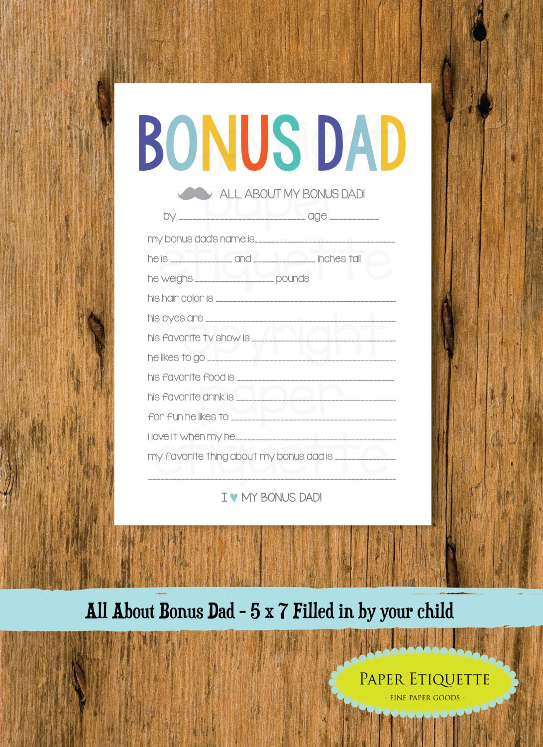 All About My Bonus Dad Step Father's Day Gift 5 x 7