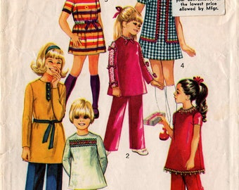 "1970 Girls' JIFFY Mini-Dress & Pants PATTERN Simplicity #9093 Size 7 ""Simple-to-Sew"" Retro School Fashions Vintage Sewing"