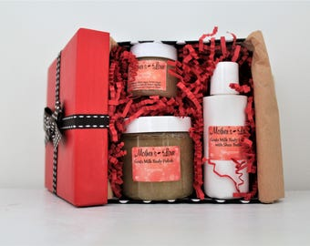 Tangerine Goats Milk Body Products Small Gift Set / Bath Products Gift / Bridal Gift Set / Baby Shower Gift / Birthday Gift