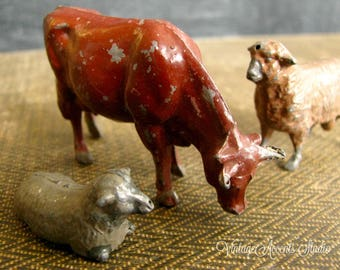 3 Pc. Antique Britains Lead Cow Sheep | Vintage Lead Toy Farm Animals | Miniature Brown Sheep Cow Figurine | Collectible | Made in England